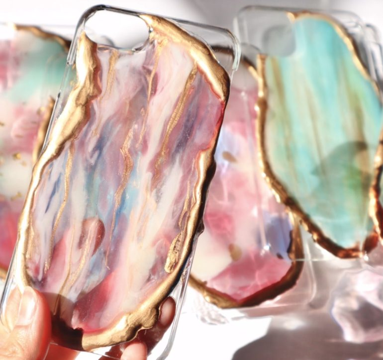Ordermade smartphone cover「Melty agate」